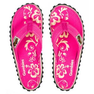3b6dd2c21e29 Gumbies Islander Flip Flops Pink Hibiscus
