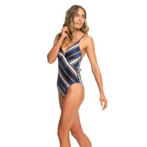ecbd2811a6c Roxy One Piece Swimsuit Blue, Gold, and White Stripe
