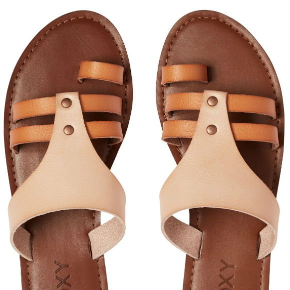 Leather Faux On Roxy Slip Tan Sandals MSUzVp