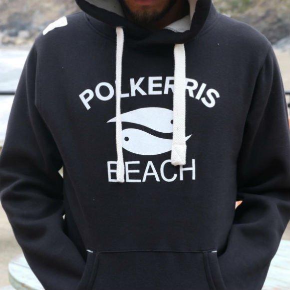 polkerris beach cornwall black adult hoodie