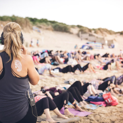 Silent Disco Beach Yoga South Coast Cornwall 2019 3