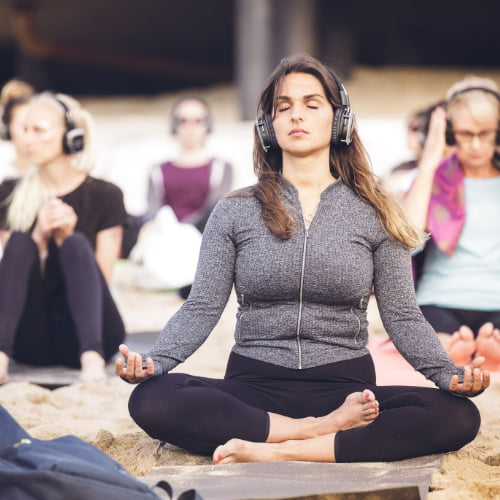 Silent Disco Beach Yoga South Coast Cornwall 2019 May