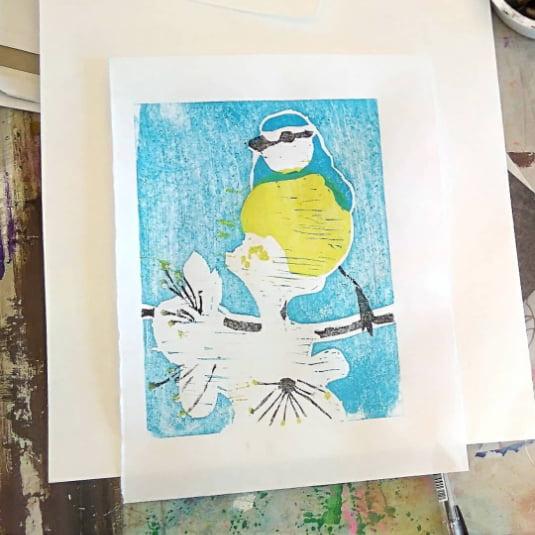 Woodblock printing course polkerris cornwall 2019